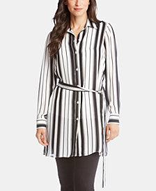 Karen Kane Striped Button-Up Tunic Top