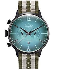 Men's Green Reversible Nylon Strap Watch 45mm