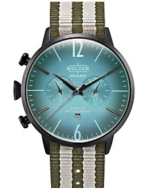 WELDER Men's Green Reversible Nylon Strap Watch 45mm