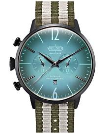 WELDER Men's Green Reversible Nylon Strap Watch 45mm