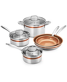 12-Pc. Stainless Steel Copper Accent Cookware Set, Created for Macys