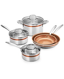 Crux 12-Pc. Stainless Steel Copper Accent Cookware Set, Created for Macys