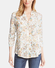 Karen Kane Printed Shirred-Sleeve Button-Up Top