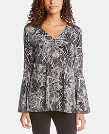 Karen Kane Printed Bell-Sleeve V-Neck Top