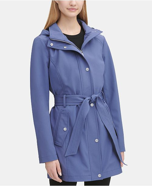 DKNY Hooded Belted Raincoat, Created for Macy's