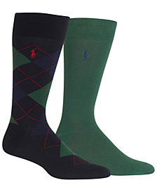 Polo Ralph Lauren Men's Socks, Dress Argyle Crew 2 Pack