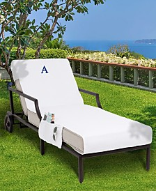 Linum Home Personalized Turkish Cotton Chaise Lounge Cover with Side Pockets Collection