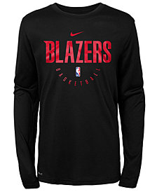 Nike Portland Trail Blazers Long Sleeve Practice T-Shirt, Big Boys (8-20)