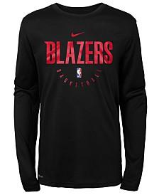Nike Portland Trail Blazers Long Sleeve Practice T-Shirt, Big Boys (8-20)
