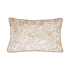 Edie@Home Celebrations Pillow Allover Beading and Sequins Floral with Metallic Flange