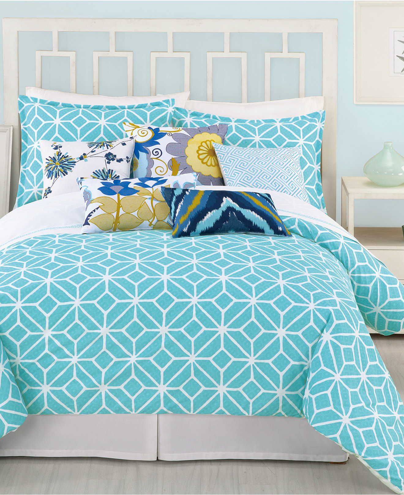 Bed sheet set with quilt - Trina Turk Trellis Turquoise Comforter And Duvet Cover Sets Bedding Collections Bed Bath Macy S