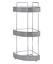 3 Tier Corner Bath Shelf in Pave Diamond Design