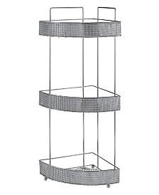 Bath Bliss 3 Tier Corner Bath Shelf in Pave Diamond Design