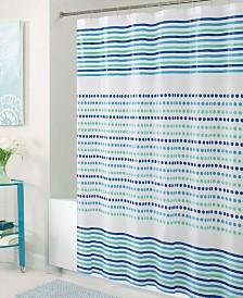 Bath Bliss Shower Curtain in Blue & Green Dot Design