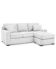 "Callington 89"" Fabric 2-Piece Reversible Chaise Sectional Sofa, Custom Colors, Created for Macy's"