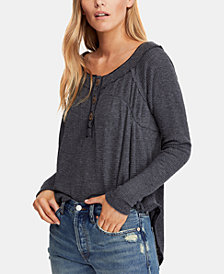 Free People High-Low Thermal Henley Top