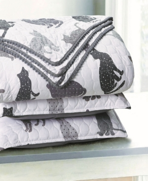 Sleeping Partners Kitty Cat Pompom Trimmed Quilt and Pillow Sham, 2 Piece Set