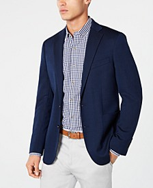 Men's Grand .OS Wearable Technology Slim-Fit Stretch Navy Textured Blazer