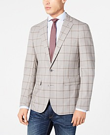 Men's Grand .OS Wearable Technology Slim-Fit Stretch Light Gray Windowpane Sport Coat