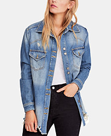 Free People Moonchild Cotton Denim Shirt Jacket