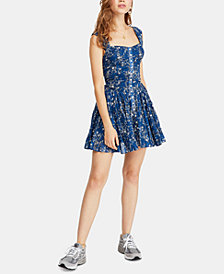 Free People Dance on the Black Top Printed Dress