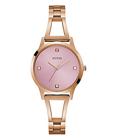 GUESS WOMEN'S ROSE GOLD PINK DIAMOND SELF-ADJUSTABLE G-LINK WATCH 25MM