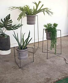 Kalalou Nesting Iron Triangle Planters w/Grey Wash Clay Pots, Set of 3