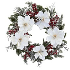 """Nearly Natural 22"""" Snowed Magnolia & Berry Wreath"""