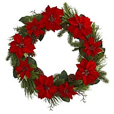"36"" Poinsettia & Pine Wreath"