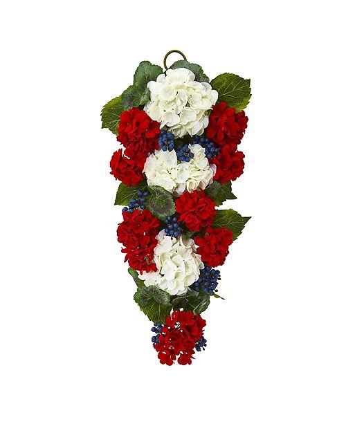 "Nearly Natural 26"" Geranium & Blue Berry Artificial Teardrop"