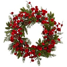 """Nearly Natural 24"""" Plum Blossom Pine Wreath"""