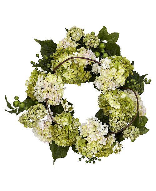 "Nearly Natural 22"" Hydrangea Wreath"
