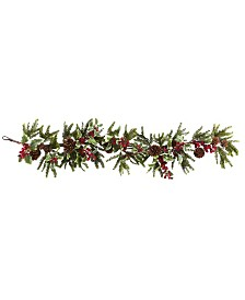 "Nearly Natural 54"" Holly Berry Garland"