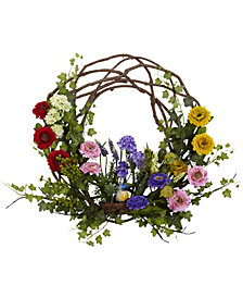 "Nearly Natural 22"" Spring Floral Wreath"