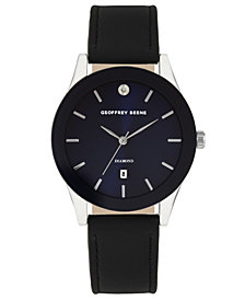 Geoffrey Beene Navy Dial Smooth Black Strap Genuine Diamond Watch
