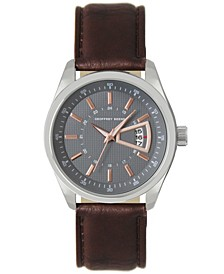 Grey Dial Rose Accent Brown Strap Watch