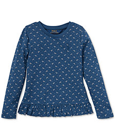 Polo Ralph Lauren Little Girls Floral-Print Long-Sleeve Ruffled Cotton T-Shirt