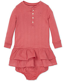 Polo Ralph Lauren Baby Girls Ruffled Long-Sleeve Cotton Dress