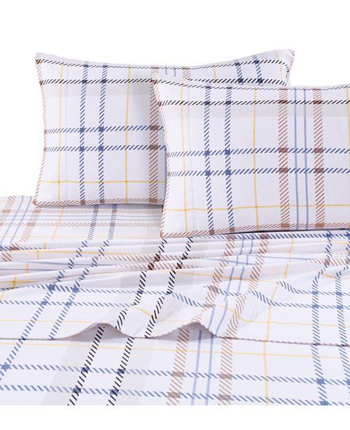 Tribeca Living Modern Plaid Luxury Extra Deep Pocket Flannel King Sheet Set