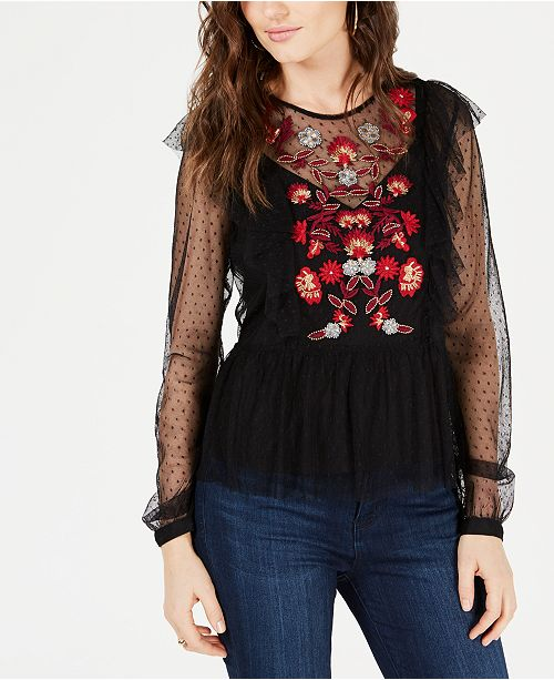 GUESS Embroidered Swiss Dot Top