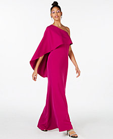 Vince Camuto One-Shoulder Overlay Gown