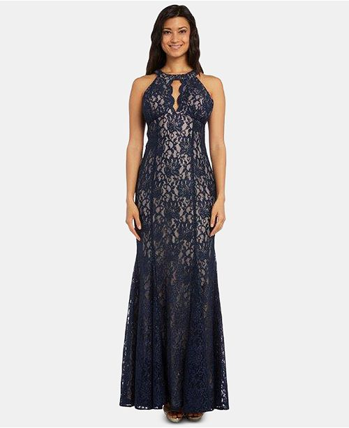 Nightway Lace Keyhole Halter Gown Amp Reviews Dresses