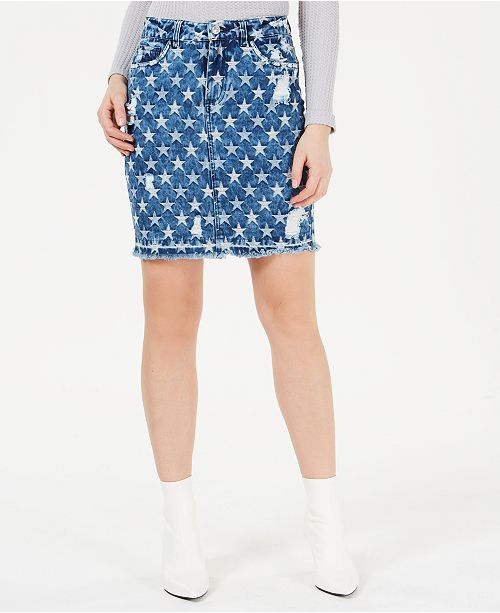 cc23d8601 GUESS Cleo Ripped Star Printed Denim Skirt & Reviews - Skirts ...