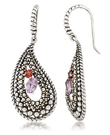Amethyst (5/8 ct. t.w.), Garnet (1/4 ct. t.w) & Marcasite Paisley Earrings in Sterling Silver