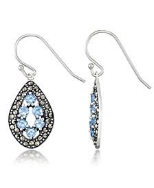 Blue Topaz (1-1/3 ct. t.w.) & Marcasite Teardrop Earrings in Sterling Silver