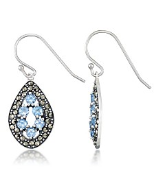 Blue Topaz (1-1/3 ct. t.w.) & Marcasite Teardrop Earrings in Sterling Silver
