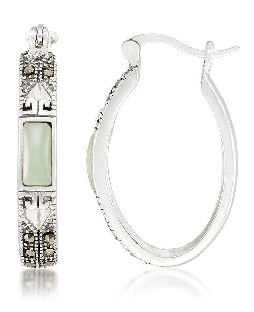 Macy's Jade (7.5 x 5.3mm) & Marcasite Oval Hoop Earrings in Sterling Silver