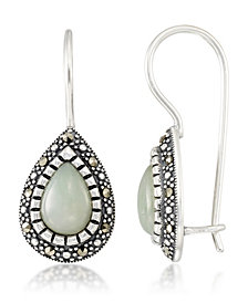 Jade (9 x 6 x 5.2mm) & Marcasite Teardrop Earrings in Sterling Silver