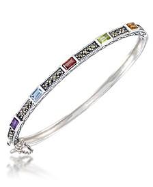 Multi-Color Stones &  Marcasite Bangle in Sterling Silver