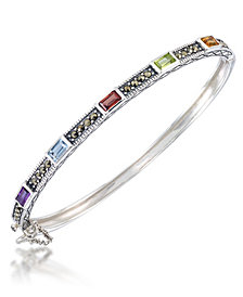 Multi-Color Stones &  Marcasite Bangle in Sterling Silver